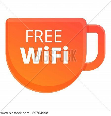 Free Wifi Cafe Icon. Cartoon Of Free Wifi Cafe Vector Icon For Web Design Isolated On White Backgrou
