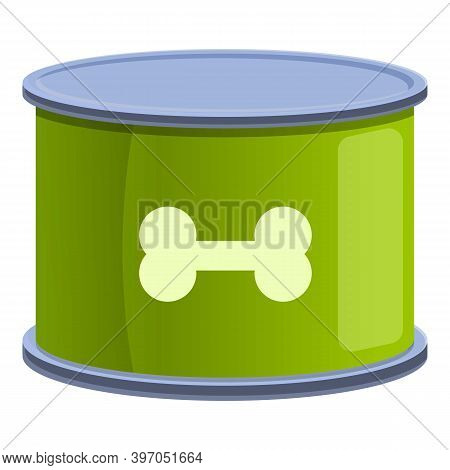 Dog Food Tin Icon. Cartoon Of Dog Food Tin Vector Icon For Web Design Isolated On White Background