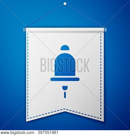 Blue Ringing Alarm Bell Icon Isolated On Blue Background. Fire Alarm System. Service Bell, Handbell