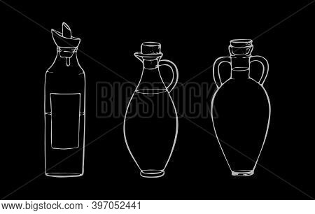 Glass Oil Bottles With Stoppers, Olive, Coconut, Sunflower, Sesame, Hemp And Other Oils.vector Illus