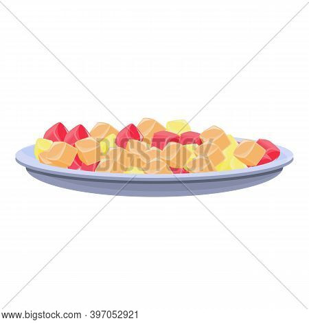 Turkish Jelly Candy Icon. Cartoon Of Turkish Jelly Candy Vector Icon For Web Design Isolated On Whit