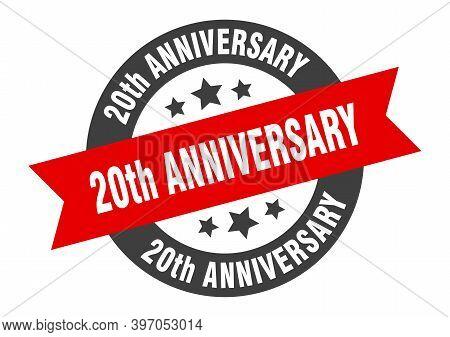 20th Anniversary Sign. 20th Anniversary Black-red Round Ribbon Sticker
