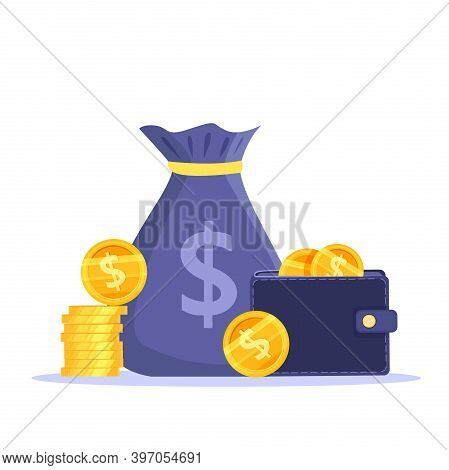 Income Growth, Money Saving Or Revenue Increase Vector Finance Illustration With Wallet, Golden Doll