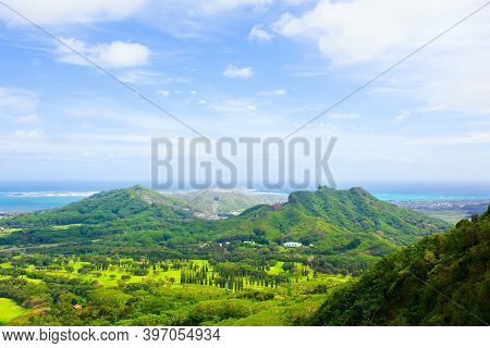 Beautiful View Of Kaneohe As Seen From High Above On Pali Lookout Towards The Ocean And The City Of