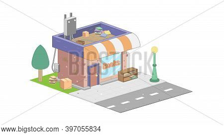 Isometric Bookstore On White Background. Modern Bookstore In Isometric Projection.