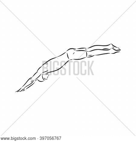 Illustration Of A Swimmer , Black And White Drawing, White Background. Swimmer Vector Sketch Illustr