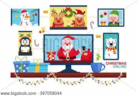 Christmas Online. Santa Claus Using Video Conference Service For Collective Holiday Virtual Celebrat