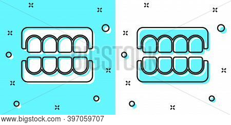 Black Line False Jaw Icon Isolated On Green And White Background. Dental Jaw Or Dentures, False Teet