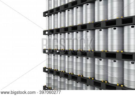 Wall Of Metal Kegs Perspective View. 3d Rendering