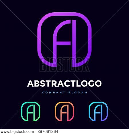 Fa Letter Logo Design Of Square Shape. Minimal Icon Monogram Of Fa Alphabet Vector.