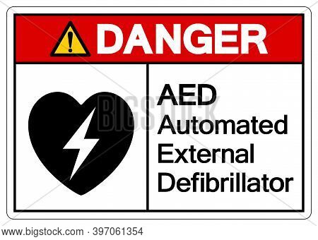 Danger Aed Automated External Defibrillator Symbol Sign, Vector Illustration, Isolate On White Backg