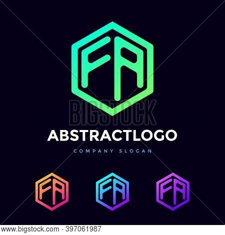 Letter Fa Logo Of Polygon Shape. Unique And Modern Fa Alphabet Icon Monogram.