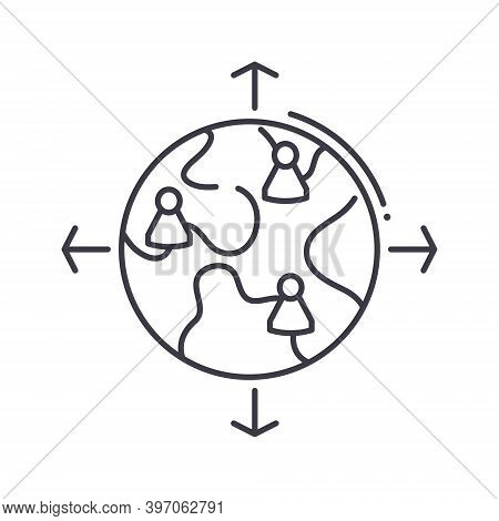 Global Outsource Icon, Linear Isolated Illustration, Thin Line Vector, Web Design Sign, Outline Conc