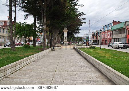 Punta Arenas, Patagonia, Chile - 20 Dec 2019: The Street In Punta Arenas, Patagonia, Chile