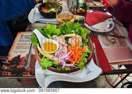 Punta Arenas, Patagonia, Chile - 20 Dec 2019: Food In The Cafe Of Punta Arenas, Patagonia, Chile