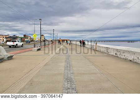 Punta Arenas, Patagonia, Chile - 20 Dec 2019: The Harbor Of Punta Arenas, Patagonia, Chile