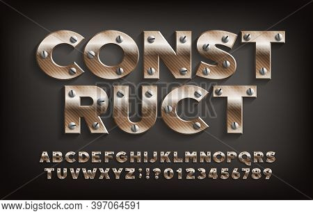 Construct Alphabet Font. Metallic Letters And Numbers With Screws. Stock Vector Typeface For Your De