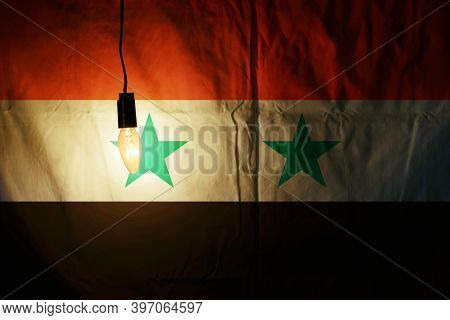 Syria Flag Illuminated By Lamp. Syria Flag
