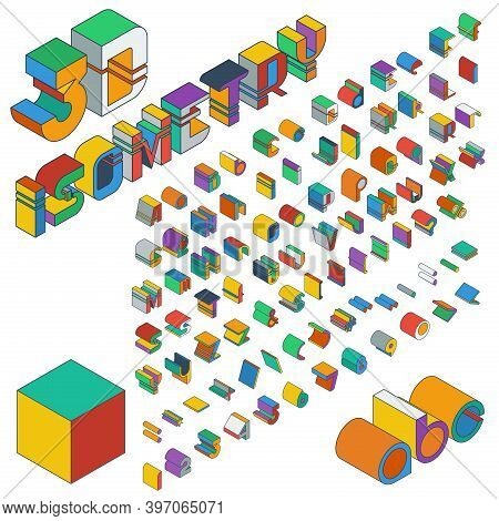 3d Multicolored Isometric Font. Three-dimensional Alphabet. Vector Set Of Letters, Numbers And Punct