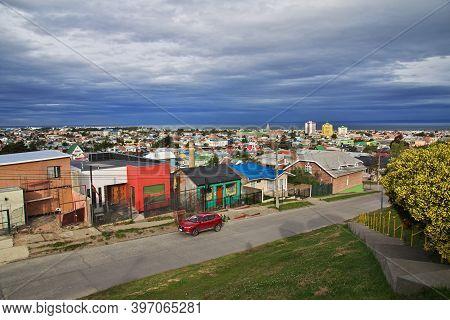 Punta Arenas, Patagonia, Chile - 21 Dec 2019: The Street In Punta Arenas, Patagonia, Chile