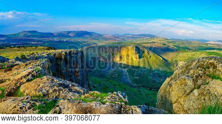 Panoramic View Of Landscape, Horns Of Hattin Mountain And Mount Nitay From Mount Arbel National Park
