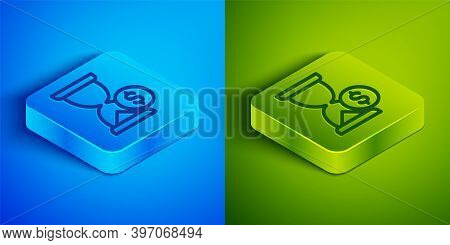 Isometric Line Hourglass With Dollar Icon Isolated On Blue And Green Background. Money Time. Sandgla