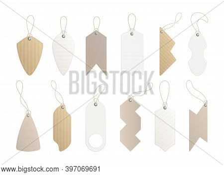 Price Tags. Set Of Labels With Cord. Paper Price Or Gift Tags In Different Shapes. Empty Organic Sty