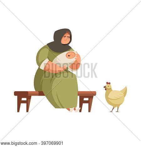 Medieval People Cartoon Icon With Peasant Woman With Baby And Hen Vector Illustration