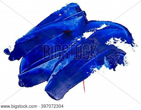 Hand Drawn Isolated Oil Paintbrush Stripe With Deep Dirty Blue Color Esp 10 Vector Illustration. Tem