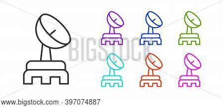 Black Line Radar Icon Isolated On White Background. Search System. Satellite Sign. Set Icons Colorfu