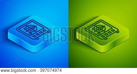 Isometric Line Radar With Targets On Monitor In Searching Icon Isolated On Blue And Green Background
