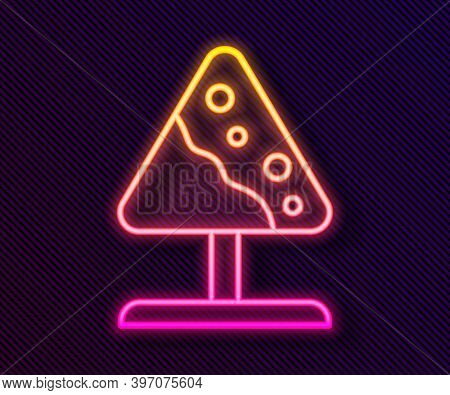 Glowing Neon Line Road Sign Avalanches Icon Isolated On Black Background. Snowslide Or Snowslip Rapi