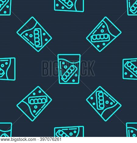 Green Line False Jaw In Glass Icon Isolated Seamless Pattern On Blue Background. Dental Jaw Or Dentu