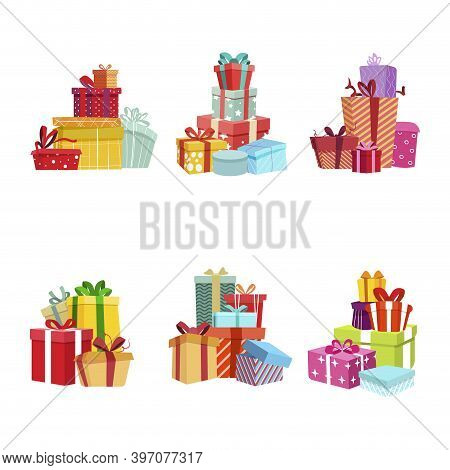 Gift Box Pile For Present, Party Birthday And Christmas Surprise. Vector Xmas Greeting, Festive Colo