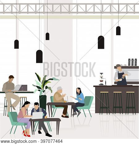 People At City Cafe. Freelancer Working At Laptop. Coffeehouse Flat Vector Cartoon Illustration. Cof