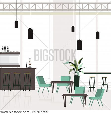 Empty Interior Cafe, Cafeteria Design With Bar Counter And Place For Customers. Lounge Empty For Bus