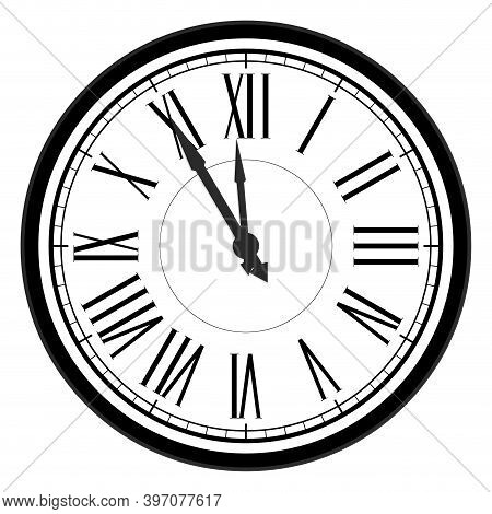 Five Minutes To Midnight, New Year Celebration, Traditional Countdown To New Year, Flat Roman Numera