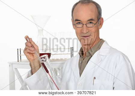 Scientist performing an experiment