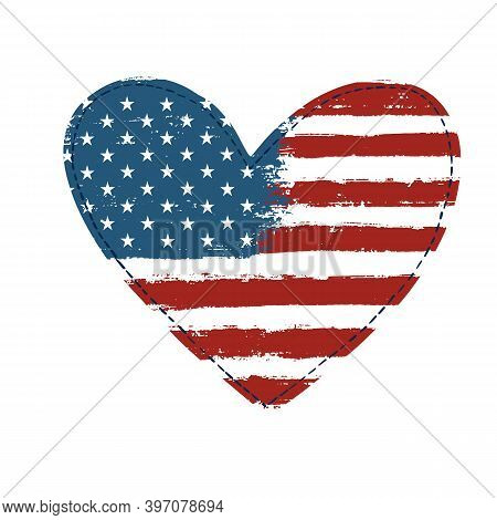 Usa Independence Day Background. Happy 4th Of July. Vector Abstract Grunge Flag In Heart Shape. Temp