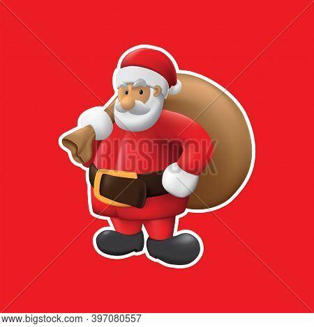 Santa Claus With Gift Shack Mascot Character 3d Vector Design