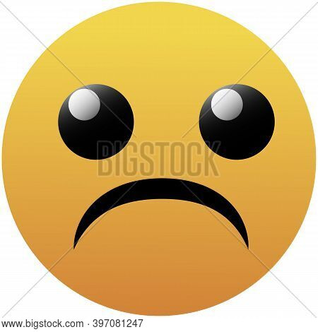 Isolated On White Frown Flat Icon. Sad Vector Element Can Be Used For Sad, Frown, Emoji Design Conce