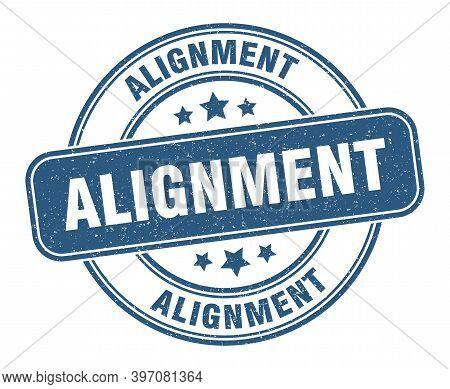 Alignment Stamp. Alignment Label. Round Grunge Sign