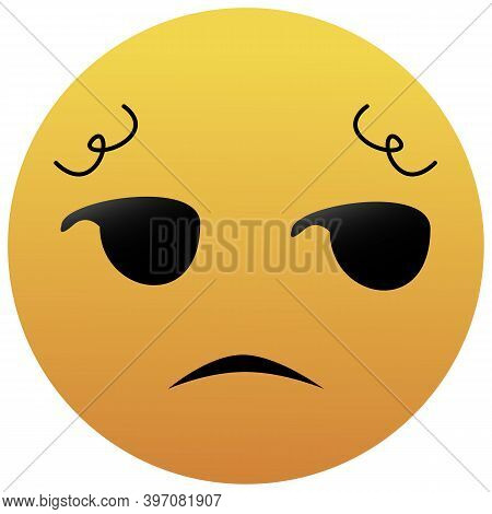 Unamused Emoji. A Yellow Face With Slightly Raised Eyebrows, A Frown, And Eyes Looking To The Side.