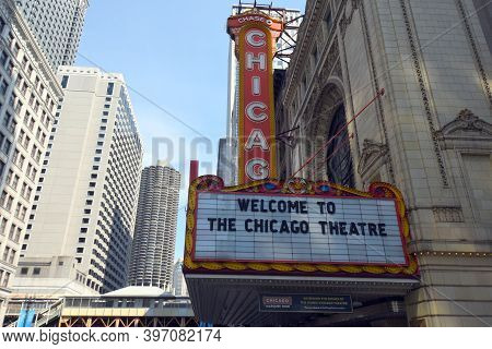Chicago, Il April 11, 2020, Chicago Theater Marquee Sign During The Day Under A Clear Sky
