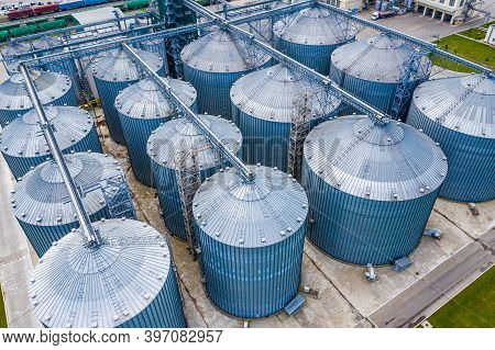 Distillation Process Is Used To Produce Bio Gas At Station. Ecologic Biofuel. View From Above.