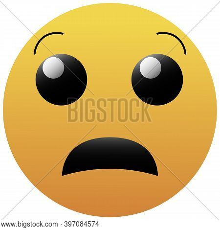 Emoji Anguished Face. A Yellow Face With Small, Open Eyes, Open Frown, And Raised Eyebrows. Upset Fa