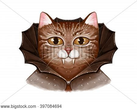 Vampire Cat Portrait Illustration. Dracula In A Black Cape And With Vampire Fangs