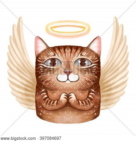 Illustration Of A Portrait Of An Angel Cat With Wings And A Halo On The Head. The Cat Has Folded Its