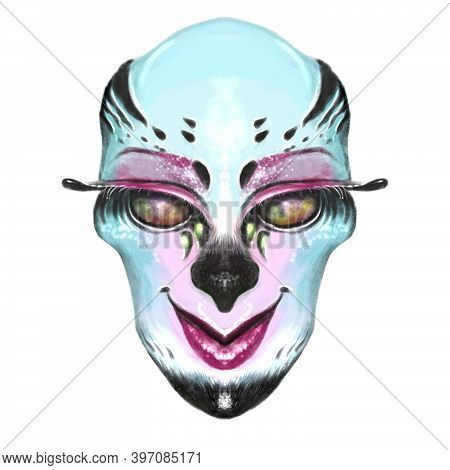 Illustration Portrait Of An Ugly Creature With Blue Skin, Dark Eyes. Alien, Demon Or Mythical Creatu