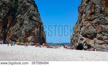 Sa Calobra, Mallorca June 21, 2018- Platja De Torrent De Pareis Beach, Sa Calobra, Majorca, Balearic